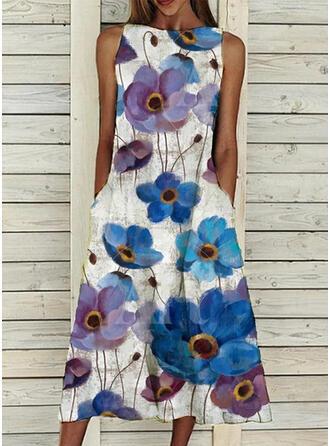Print/Floral Sleeveless Shift Casual Midi Dresses
