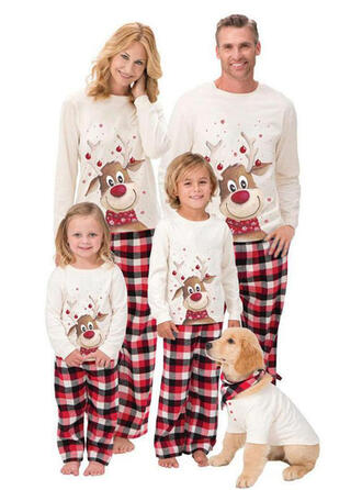 Cerf Plaid Dessin Animé Tenue Familiale Assortie Pyjama De Noël Pyjamas