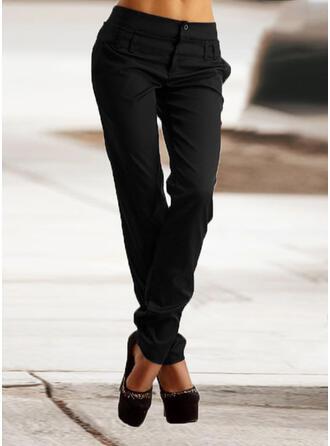 Couleur Unie Patchwork Froncé Grande taille Longue Élégante Maigre Plaine Pantalon