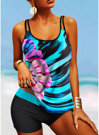 Floral Print Strap U-Neck Plus Size Colorful Casual Tankinis Swimsuits