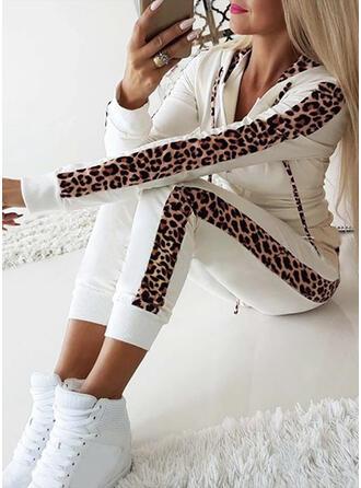 Capuche Manches Longues Léopard Leopard Ensembles haut et pantalon