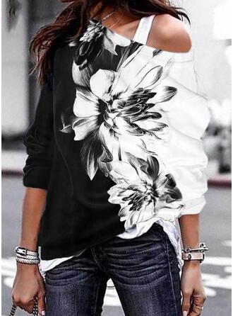 Print Color Block Floral One Shoulder Long Sleeves Sweatshirt