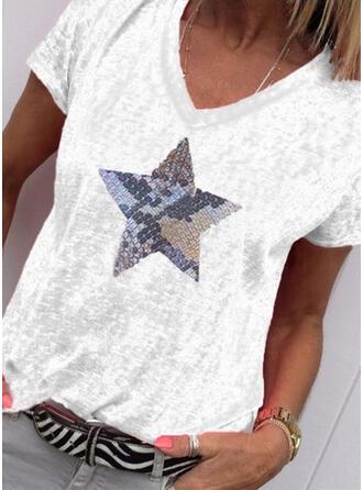 Imprimée Col V Manches Courtes Décontractée Tricotage T-shirts