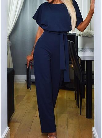 Solid Round Neck Short Sleeves Elegant Office/Business Jumpsuit
