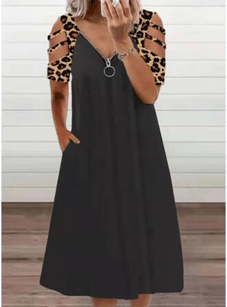 Print/Leopard Short Sleeves Shift Casual Midi Dresses