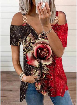 Print Color Block Floral Cold Shoulder Short Sleeves Cold Shoulder Sleeve Casual Blouses