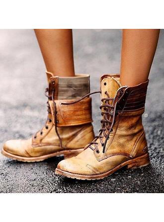 Femmes PU Talon bas Bottes avec Dentelle chaussures