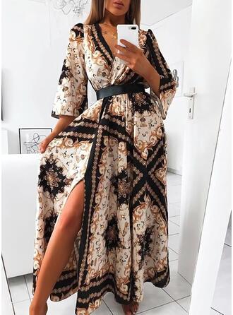 Imprimée Manches 3/4 Trapèze Patineuse Vintage/Fête Maxi Robes