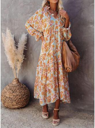 Imprimée/Fleurie Manches Longues Droite Décontractée/Vacances Maxi Robes