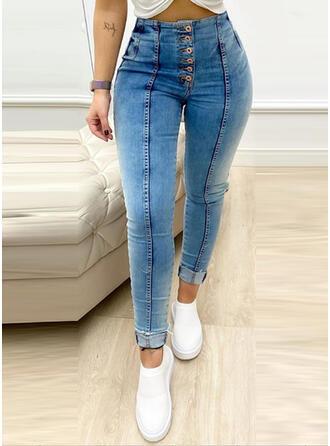 Patchwork Froncé Élégante Sexy Maigre Jeans