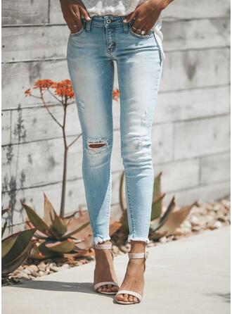 Froncé Grande taille Déchiré Longue Élégante Sexy Jeans