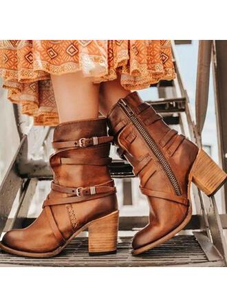 Femmes PU Talon bottier Escarpins Bottes avec Boucle Zip chaussures