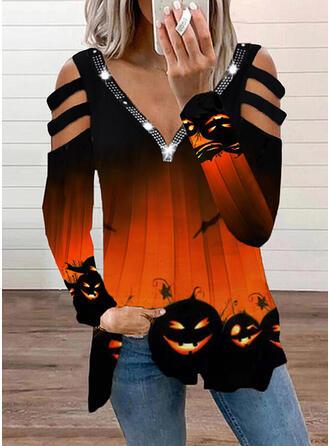 Halloween Print Cold Shoulder Long Sleeves T-shirts