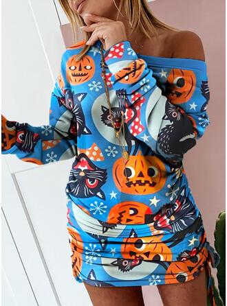 Imprimé Animal Manches Longues Moulante Au-dessus Du Genou Fête/l'Halloween Robes