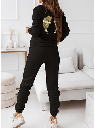 Print Sporty Casual Plus Size Sweatshirts & Two-Piece Outfits Set