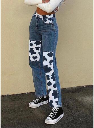 La copie Animale Patchwork Décontractée Ancien Jeans