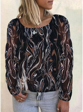 Print Round Neck Long Sleeves Elegant Blouses