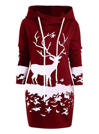 Imprimé Animal Manches Longues Fourreau Au-dessus Du Genou Noël/Décontractée Robe Sweat Robes