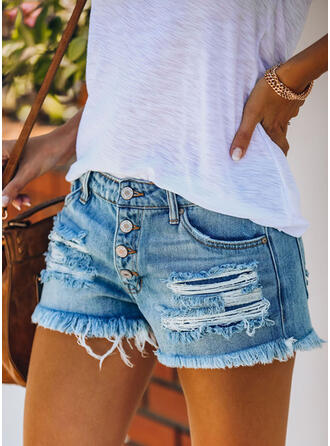 Casual Pocket Shirred Ripped Button Pants Shorts Denim & Jeans