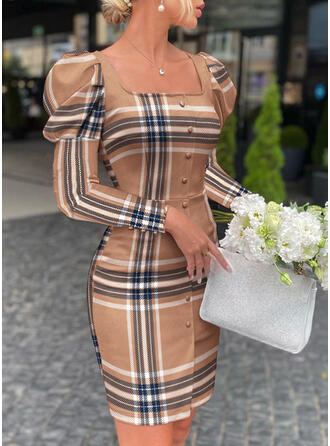 Plaid Long Sleeves Puff Sleeve Bodycon Above Knee Elegant Dresses