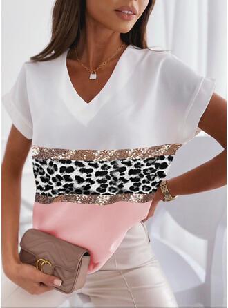 Color Block Leopard Print Sequins V-Neck Short Sleeves T-shirts