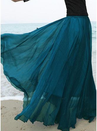 Mousseline de soie Couleur unie Longueur ras du sol Jupes trapèze