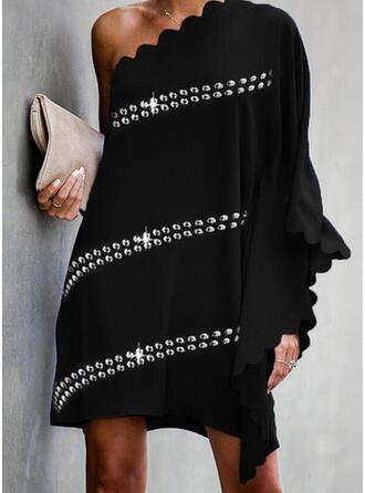 Paillettes/Couleur Unie Manches Longues/Manches Chauve-souris Droite Au-dessus Du Genou Petites Robes Noires/Fête/Élégante Robes