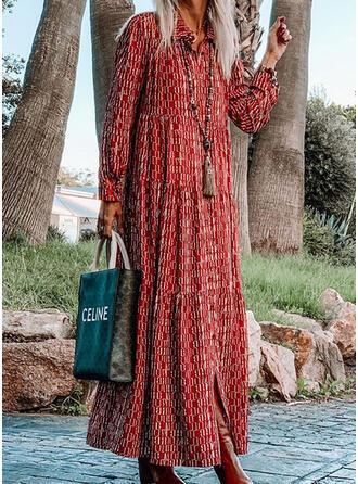 Imprimée Manches Longues Droite Tunique Bohème/Vacances Maxi Robes
