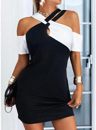 Color Block 1/2 Sleeves Sheath Above Knee Casual/Elegant Dresses