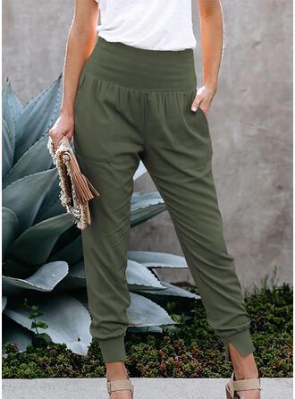 Couleur Unie Les poches Froncé Longue Décontractée Couleur Unie Sportif Pantalon