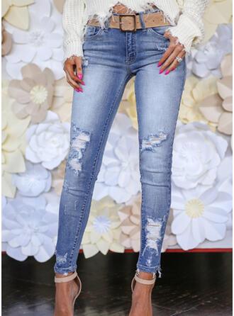 Patchwork Les poches Froncé Grande taille Longue Élégante Sexy Maigre Jacquard Pantalon Jeans