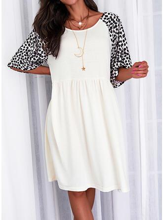 Print/Leopard Short Sleeves Shift Knee Length Casual Tunic Dresses