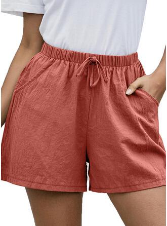 Les poches Froncé Au-dessus du genou Décontractée Maigre Sportif Short