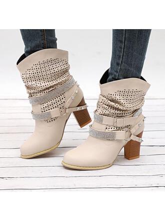 Femmes PU Talon bottier Bottes mi-mollets Bout pointu avec Strass Rivet Boucle chaussures