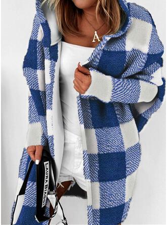 Long Sleeves Plaid Blend Coats