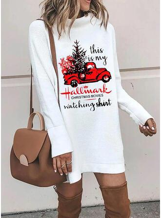 Imprimée Manches Longues Droite Au-dessus Du Genou Noël/Décontractée Robe Sweat Robes