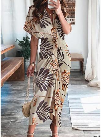 Print 1/2 Sleeves Sheath Shirt Casual/Vacation Midi Dresses