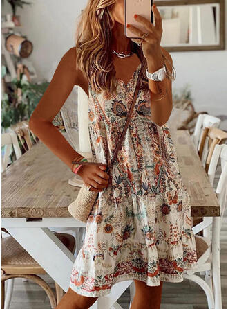 Print/Floral Sleeveless Shift Knee Length Casual/Vacation Slip Dresses