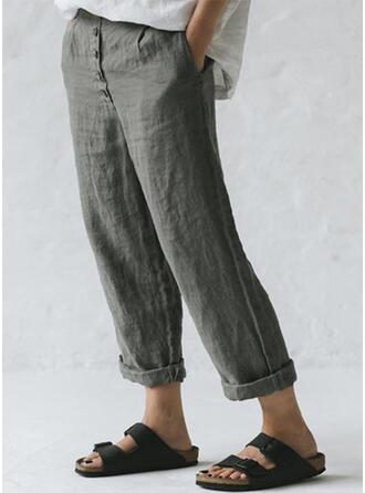 Les poches Froncé Grande taille Longue Décontractée Plaine Pantalon