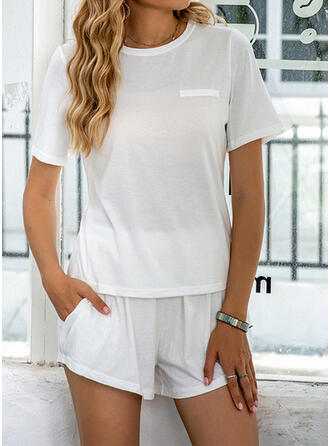 Polyester Grande taille Col Rond Manches Courtes Ensemble pyjama