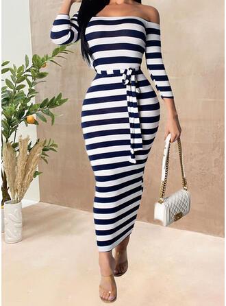 Striped 3/4 Sleeves Sheath Casual Midi Dresses
