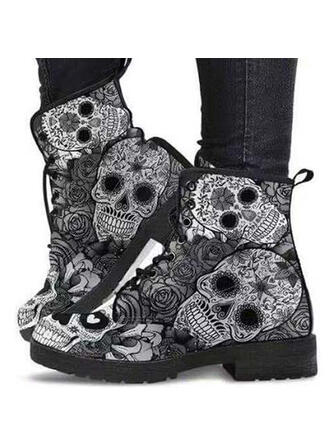 Women's PU Chunky Heel Boots Martin Boots With Lace-up Floral Print shoes