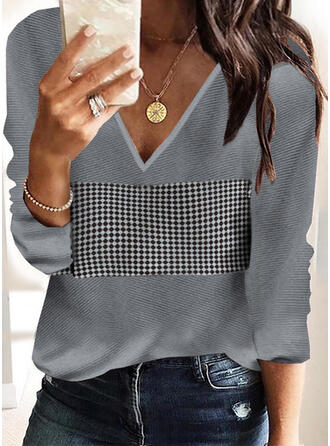 Plaid V-Neck Casual Sweaters