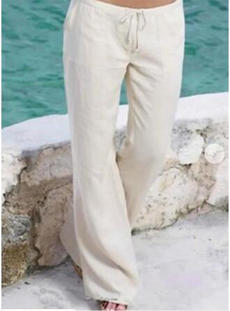Les poches Froncé Grande taille Longue Boho Décontractée Longue Pantalon