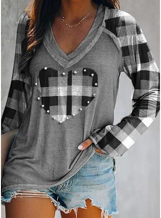 Heart Plaid V-Neck Long Sleeves T-shirts