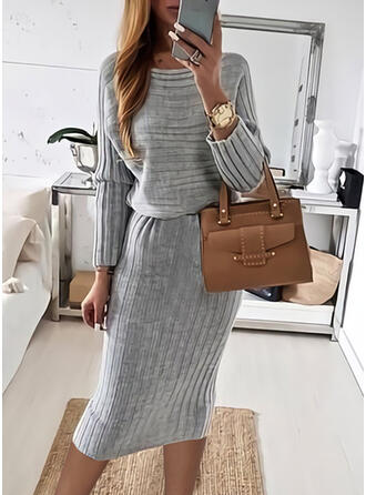 Solid Knit Long Sleeves Bodycon Pencil Casual Midi Dresses