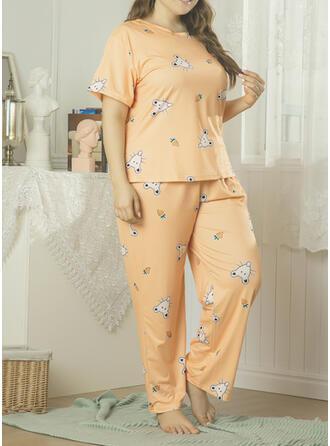 Polyester Inmprimé Grande taille Col Rond Manches Courtes Ensemble pyjama