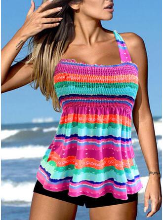 Stripe Splice color Halter U-Neck Plus Size Boho Tankinis Swimsuits