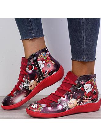 Femmes PU Talon plat Bottines bout rond avec Dentelle Une fleur Couleur d'épissure chaussures
