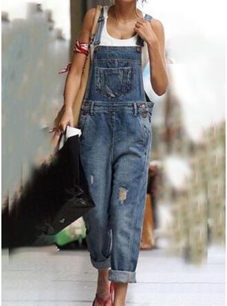 Froncé Grande taille Déchiré Décontractée Ancien Jeans Combinaisons et barboteuses